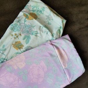 2 Pairs Lot Lularoe Pastel Floral Leggings OS
